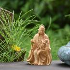 木彫仏像-小仏 園城寺形【訶梨帝母(鬼子母神)倚像】 柘植 金泥仕様 模造作品 ※桐箱付き