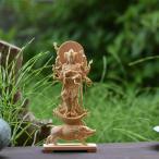 木彫り仏像-【小仏】シリーズ 【摩利支天立像】 柘植製 金泥付(金彩) 総高約13.5cm 守護神