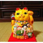 貯金箱 金運招き猫・小 陶器製 まねきねこ黄色