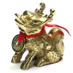 風水グッズ 麒麟 キリン 真鍮製 置物 招財古銭 きりん