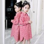 ショッピングギンガムチェック ギンガムチェックシャツワンピース  キッズ 韓国子供服