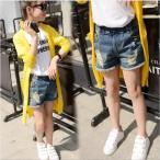 ダメージデニムショートパンツ 韓国子供服