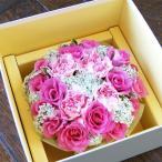 母の日 フラワーケーキ ピンク 薔薇とカーネーション 生花 プレゼント誕生日 結婚記念日 結婚祝い