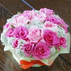 ピンク 薔薇 カーネーション フラワーケーキ 生花 プレゼント 母の日 父の日 誕生日 結婚記念日 結婚祝い 送料無料