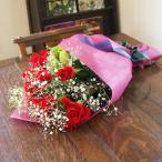 深紅 バラ ブーケ 花ギフト プレゼント 生花 花束 ひな祭り 母の日 卒業 画像 送料無料