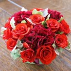 赤薔薇 カーネーションフラワーケーキ フラワーアレンジ アレンジメント 生花 ひな祭り 母の日 卒業 画像 送料無料