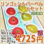 【送料無料】山形県産 ふじりんごとシルバーベルのセット 特大サイズ6玉 3~3.5kg入り