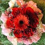 母の日 フラワーケーキ  レッド 5号 アレンジメント 生花 フラワーアレンジ プレゼント誕生日 結婚記念日 結婚祝い 画像 送料無料