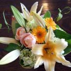 敬老の日 花束 ブーケ ユリと季節のお花 ラウンドブーケ 生花 プレゼント ギフト誕生日 結婚記念日 結婚祝い 画像 送料無料
