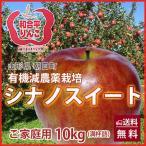 りんご リンゴ シナノスイート 10kg  ご家庭用 満杯詰め 有機減農薬栽培 朝日町和合平 葉取らずりんご 訳あり 送料無料