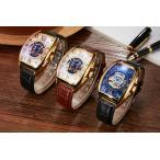 SEWOR 自動巻き メンズ 腕時計 時計 機械式 手巻 三針 本革ベルト アナログ スケルトン  ドクロ ガイコツ 骸骨 保証書付 SWQ55-01