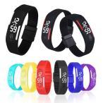 LED メンズ 腕時計 時計 レディース ウオッチ メンズ スポーツ腕時計 シリコンウォッチ ランニング バングル・ブレスレット腕時計  デジタル W-LB01-bk