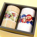ギフト ツバキぶどう七宝缶 煎茶セット 送料無料 日本