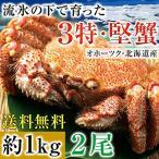 毛ガニ 北海道産 特大 1kg 毛蟹 オホーツク産 毛がに 姿 ボイル冷凍 超特大サイズ 約1kgを2尾