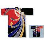 ポリエステルプリント子供長半纏(身丈90cm/100cm・赤・黒/束ね熨斗) お子様用イベント法被/はっぴ 神社 神輿 山車半天 祭り半纏