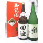 (日本酒飲み比べギフトセット)田酒 特別純米酒1,8L×緑川 純米1,8L(セット箱入り)