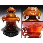 【中国骨董品】赤瑪瑙「遊環透彫刻香炉」240mm