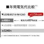 ショッピングled電球 LED電球 E26 60W相当 3個入り 調光器対応 密閉器具対応 (GT-B-9W-E26D-3P) 昼光色 800lm 口金E26 広配