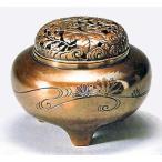 香炉 平丸型「菊水銀象嵌入」 o82-11