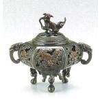 香炉 瓢箪足透かし 銅製・古手色 ta123-14