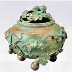 香炉 ひさご型 大 須賀月芳 作 蝋型青銅製 焼青銅色 桐箱入 o103-01