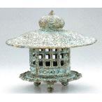 高岡銅器 庭置物 与次郎灯籠14号 銅製 土中色 ●幅41×高さ35cm t59-08