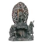仏像 座不動明王像12号 童子付 銅製 高さ34.7×幅23.7×奥行20cm d128-03