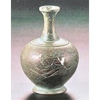 花瓶【花器】 祇園(彫金) 青銅製 青井一彩 刻 o30-02