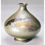 花瓶【花器】 6寸高峰型(双鯉彫金) 青銅製 o32-03
