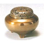 香炉 平丸型 青銅製 山吹色 桐箱入 o82-10