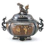 香炉 獅子蓋 間取人物 蝋型青銅製 桐箱入・証付 o94-04