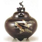 香炉 平丸獅子蓋 双鶴 銅製・蒔絵 t138-55