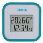 温度計 湿度計 温湿度計 タニタ デジタル 最高最低温度計 時計 日時表示 ブルー