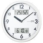 壁掛け時計 アナログ シンプル 温度計 湿度計 カレンダー表示付き
