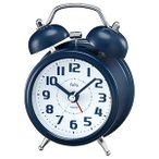 目覚まし時計 大音量 置き時計 アナログ ツインベル ネイビーブルー かわいい おしゃれ レトロ感