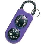 コンパス 方位磁石 方位磁針 温度計 小型 ミニ サーモメーター パープル