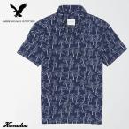 アメリカンイーグル アロハシャツ メンズ 半袖 トロピカル AE Tropical Short Sleeve Button Up Shirt ネイビー 大きいサイズ
