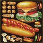 デコレーション シール 黒板 POP 看板 ステッカー ( ハンバーガー ホットドッグ ジャンクフード )
