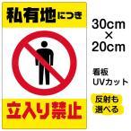 看板 「 私有地につき立入り禁止 」( 黄帯 ) 縦型 20cm×30cm
