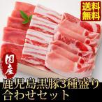 送料無料 鹿児島黒豚3種盛り合わせセット ロースステーキ バラうす切り 肩ロース焼肉