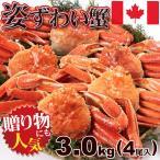 かに 蟹 カニ ずわい 送料無料 ボイル 姿 ズワイガニ 3kg (4尾入) 鮮度抜群 瞬間凍結 カナダ産