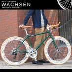 700C クロスバイク シマノ14段変速 アルミフレーム ブルホーンハンドル ディープリム 自転車 スタンド ヴァクセン WACHSEN bsb-7001