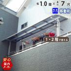 テラス屋根 1階用 2階用 アール型 1.0間1870mm×出幅7尺2206.5mm 移動桁熱線遮断ポリカタイプ ベランダ 雨よけ 洗濯物干し