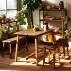 テーブルセット つくえ+いす2つ+ベンチ 木製机 アンティーク おしゃれ デザイン ガーデンファニチャーテーブルセット
