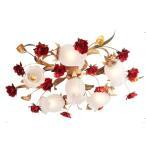 シャンデリア アンティーク調 6灯 10畳 組立済 可愛いアンティーク調 薔薇シャンデリア チェーンなし 0409/5+1