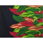 ハワイアンファブリック綿ポリ 裾柄/ブラック/ティーリーフ/HFN636