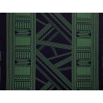 ハワイアンファブリック綿ポリ ボーダー柄/ブラック・グリーン/古典/HFN639