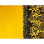 ハワイアンファブリック綿ポリ 裾柄/イエロー・ブラック/ヘリコニア/HFR867
