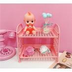 便利収納 置物棚 女の子 卓上収納ラック 可愛い ピンク少女 プチ家具装飾 2階層 収納棚 男の人 マガジン CD ラック (ピンク)