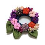 久留米絣 古布ブローチ 花飾りコサージュ 大 和風アクセサリー 104